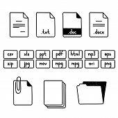 Hand draw doodle sketch set of document file fomats icons