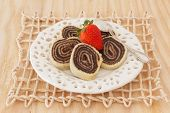 Bolo De Rolo (swiss Roll, Roll Cake) Brazilian Chocolate Dessert With Strawberry