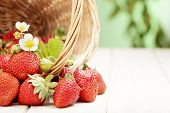 picture of strawberry  - basket with strawberry on table - JPG