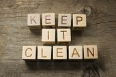 keep it clean on a wooden background