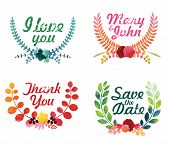 Watercolor laurel wreaths. Decorative floral elements.