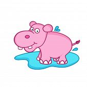 Cute pink cartoon of hippopotamus,