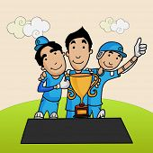foto of cricket  - Cute cartoons of Cricket players enjoying and posing after winning trophy - JPG