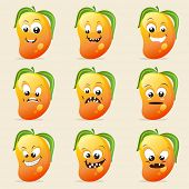 Funny mango character showing different facial expressions on beige background.