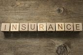 Insurance text on a wooden background