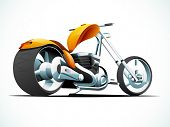 Glossy chopper sports motorbike design on sky blue and white background.
