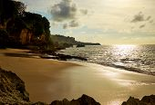 Amazing  beach destination sunrise or sunset with beautiful breaking waves