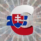 Euro symbol with Slovakian flag on Euro currency illustration