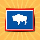 Wyoming map flag on sunburst illustration