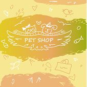 stock photo of dog tracks  - Colorful banner with animals for pet shop - JPG