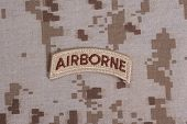 Us Army Airborne Tab On Camouflage Uniform