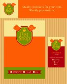 Logo, emblem store for cats and dogs. Editable. Flyer design vector template in A4 size. Business ca