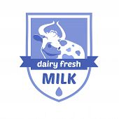 Vector logo with the image of a cow. Milk and milk products, ice cream. Blue background, heraldic st