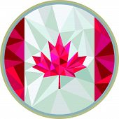 stock photo of canada maple leaf  - Low polygon style illustration of Canada flag maple leaf set inside circle on isolated background - JPG