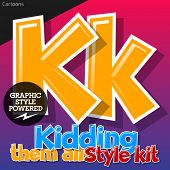 Colorful and cheerful cartoon font for children. Letter K. Also includes graphic styles