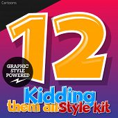 Colorful and cheerful cartoon font for children. Numbers 1 2. Also includes graphic styles