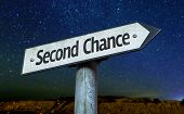 Second Chance sign with a beautiful night background