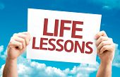 Life Lessons card with sky background