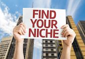 Find Your Niche card with a urban background