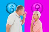 Older couple holding hands to mouth for silence against pink and blue