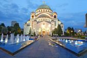 white Cathedral of St. Sava in Belgrade at evening, Serbia
