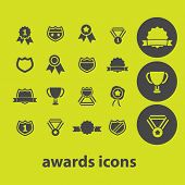 awards, victory, trophy icons, signs, illustrations on background set, vector