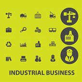 industrial business, management, marketing, sales icons, signs, illustrations on background set, vector