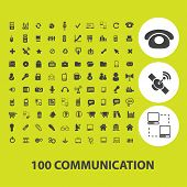 100 communication, connection, technology icons, signs, illustrations on background set, vector