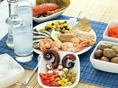pic of ouzo  - Misc seafood and greek alcohol drink ouzo - JPG