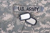 Us Army Uniform With Blank Dog Tags And Sergeant Rank Patch