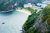 Aerial view of Botafogo beach in Rio de Janeiro, Brazil.