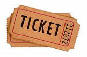 picture of movie theater  - Old movie tickets on a white background - JPG