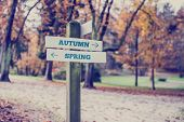Rustic Wooden Sign With The Words Autumn - Spring