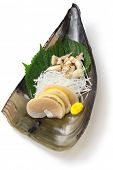 tairagi(pacific pen shell, atrina pectinata) sashimi, japanese cuisine isolated on white background