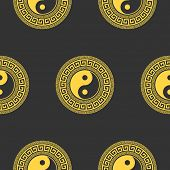 yin yang. vector seamless background