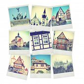 Set of old instant photos of Germany. Instagram style filtred images