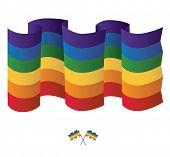 Isolated Rainbow flag on white background. Vector illustration