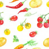 Watercolor seamless background of vegetables, vector illustration.