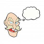 cartoon evil old man face with speech bubble