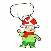 foto of magical-mushroom  - cartoon mushroom man with speech bubble - JPG