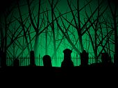image of tombstone  - Eerie background of tombstones against an ancient forest - JPG