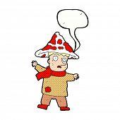 image of magical-mushroom  - cartoon magical mushroom man with speech bubble - JPG