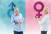 Happy mature woman sending a text against female gender symbol