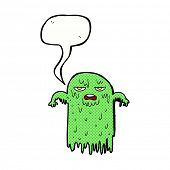 cartoon slimy ghost with speech bubble
