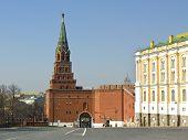 Moscow, Borovitskaya Tower Of Kremlin