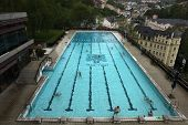 KARLOVY VARY, CZECH REPUBLIC - MAY 8, 2013: Outdoor swimming poll in the Thermal Hotel in Karlovy Vary, Czech Republic.
