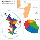 Map of a Reunion and Mayotte, Overseas region of France