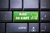 Add to cart button on the computer keyboard
