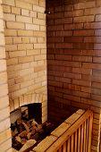Brick wall in the sauna