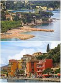 Villefranche resort and bay collage, Cote d'Azur